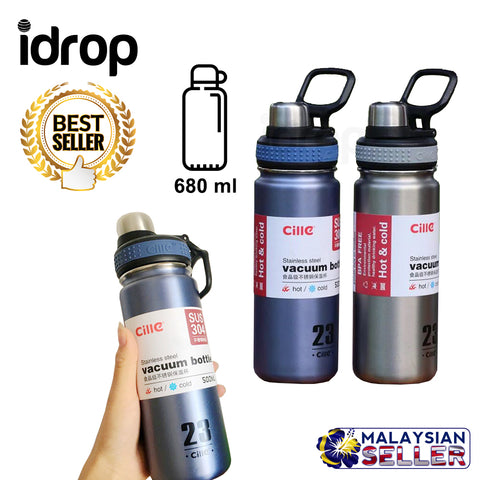 idrop 680 ml Stainless Steel Thermos Vacuum Heat Insulation Thermal Flask Sports Outdoor Water Bottle