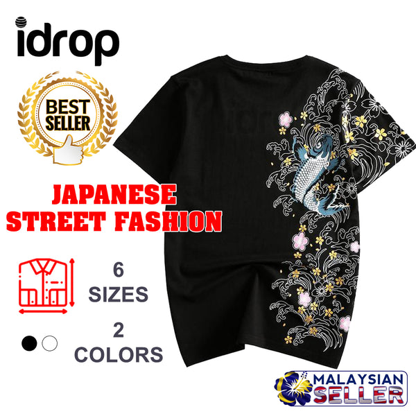 idrop TOLLO - Floral Themed Koi Carp Sukajan T-Shirt Japanese Street Fashion