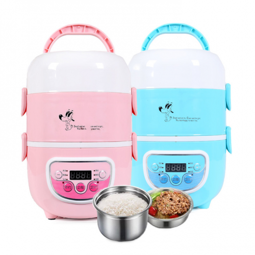 2.3L 3 Layer Muti-function Electric Lunch Box With Timer - Random Colour
