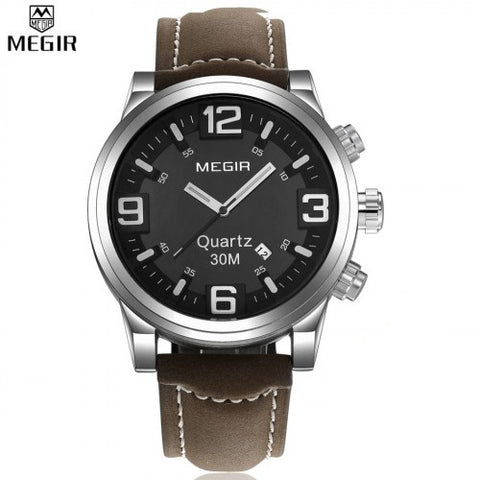 MEGIR 3010 Large Dial Casual Watch Men Luxury Brand Quartz Military Sport Watch Digital Men's Wristwatches