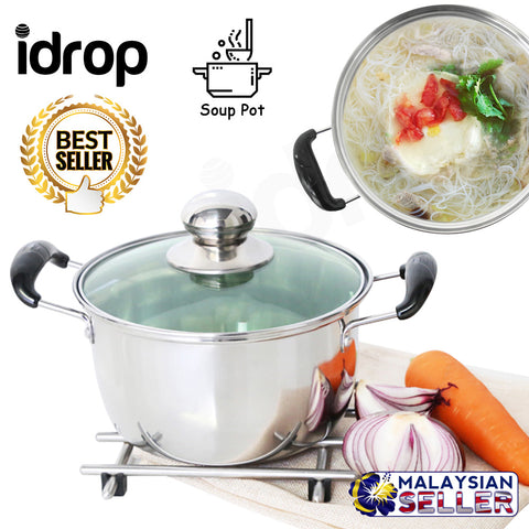 idrop 22cm Non-Stick Double Ear Soup Pot with Glass Lid for Kitchen Cookware