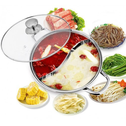 2 In 1 Steamboat Stainless Steel Hotpot