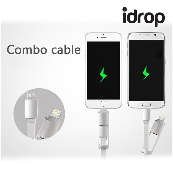 idrop - 2 In 1 Retractable Cable 1M 2 A USB Data Sync Cable Combo Noodles Stretching Charger Line