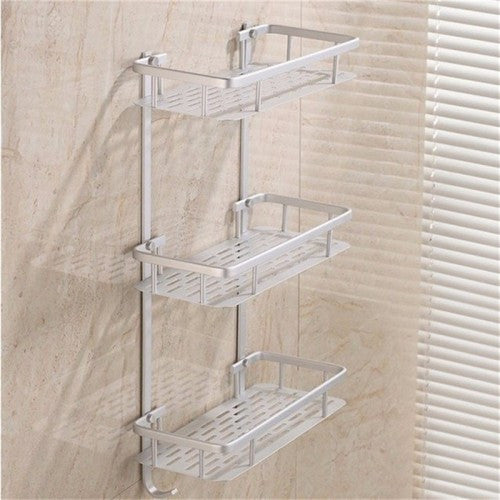 3 Layer Hanging Cosmetic Make Up Shower Rack Storage Aluminium Bathroom Soap Kitchen Shelf Accessories Holder