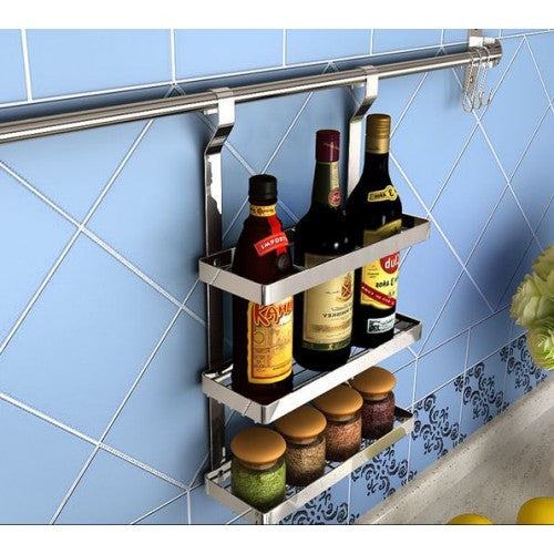 3 Tie Seasoning Rack with Stainless Steel Kitchen Hanging Rod