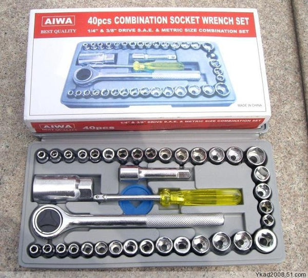 40Pcs Automobile & Motorcycle Tool Sets Combination Socket Wrench Set