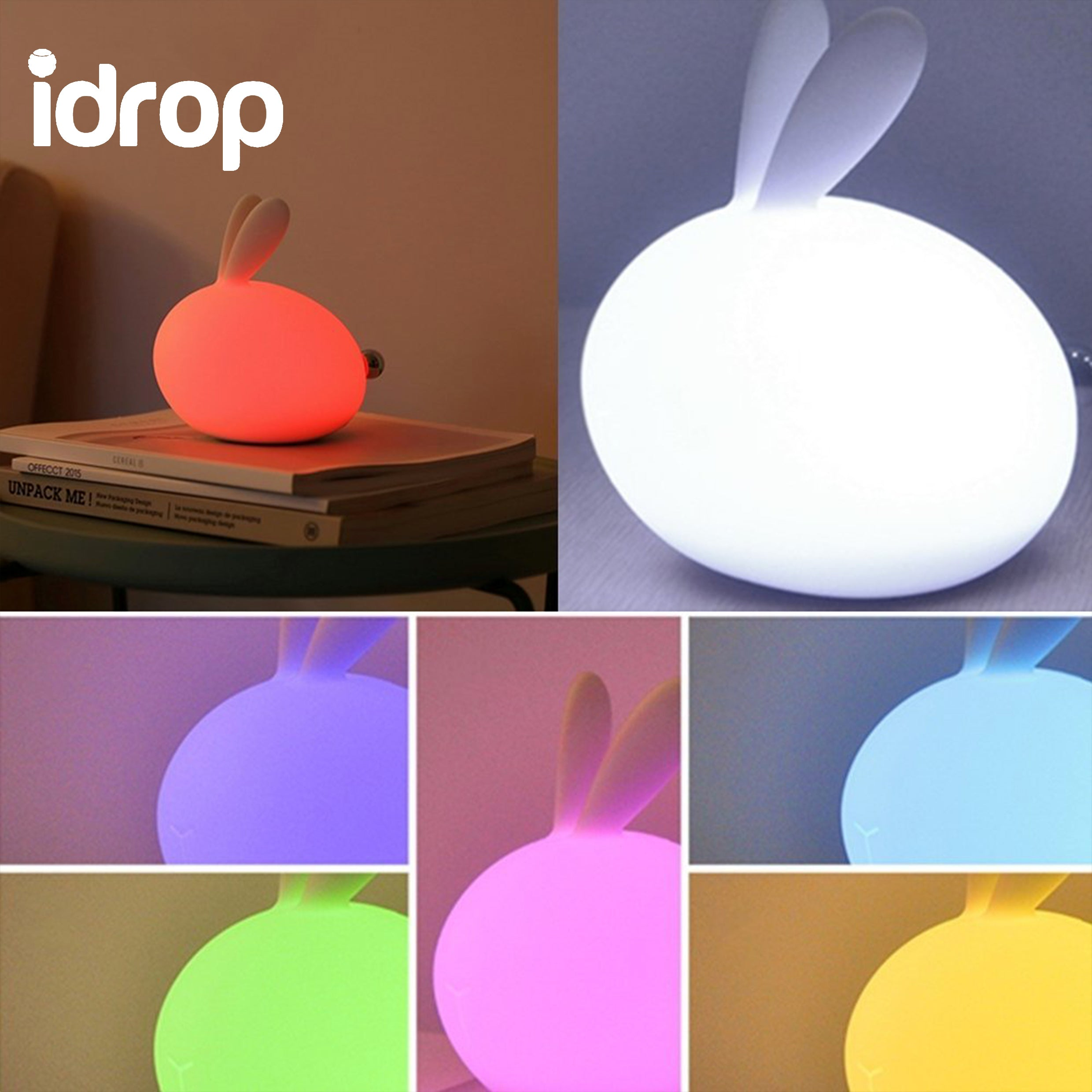 lights bedroom night silicone lamps bedside kids rabbit for item cute led children from colorful lamp usb in table control remote