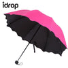 idrop Colorful Black Glue Anti-UV Sunscreen Umbrella with Blossom in Rain Folding Sunshade Umbrella [Send by randomly color]