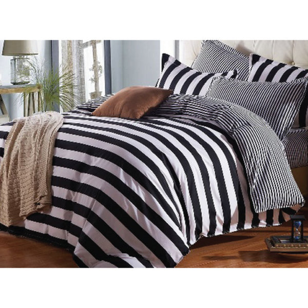 500-Thread Count Bed Sheet Set - Black & White