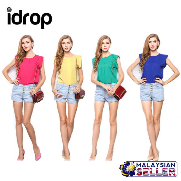 idrop  Ruffle Sleeve Chiffon Blouse [ Pink / Blue / Green / Yellow ]