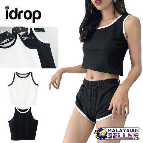 idrop Basic Crop Tops [ Black / White ]