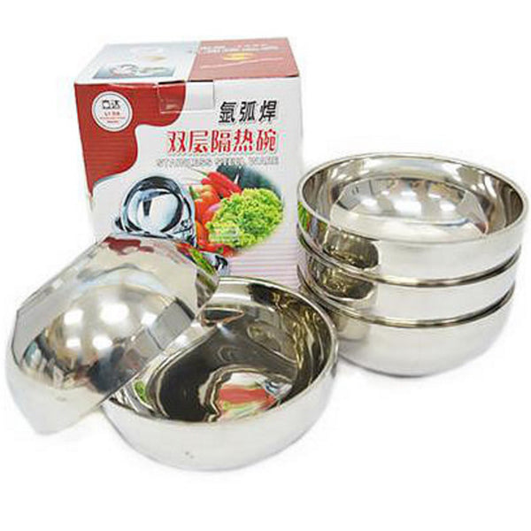 5pcs/Box 18cm Stainless Steel Double Layer Bowl