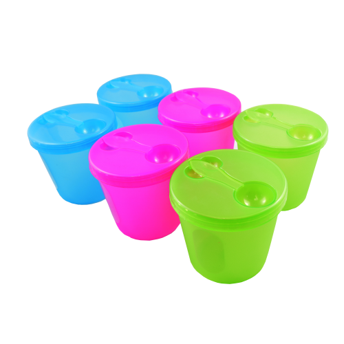 6 Pcs Colorful Plastic Storage Container Set With Spoon