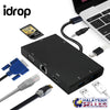 idrop 8 IN 1 USB-C to Hub PD Quick Charge USB-C to Type-c/HDMI/ VGA / Card Reader/3.5mm audio/USB 3.0 Ports2 /Gigabit Ethernet Adapter Cable for laptop / Macbook