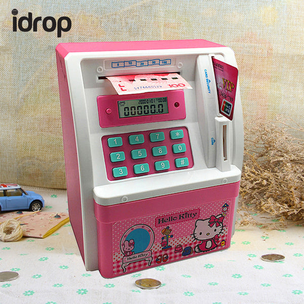 idrop Mini Electronic Money ATM Bank Coin Cash Saving Box Code Password Simulation Atm Creative Gift Toy