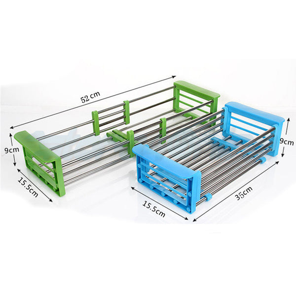 Adjustable Stainless Steel Drain Rack (White)