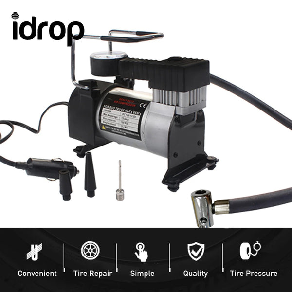 idrop Air Compressor Portable Mini Tire Inflator Pump 12 Volt Car Heavy Duty Metal