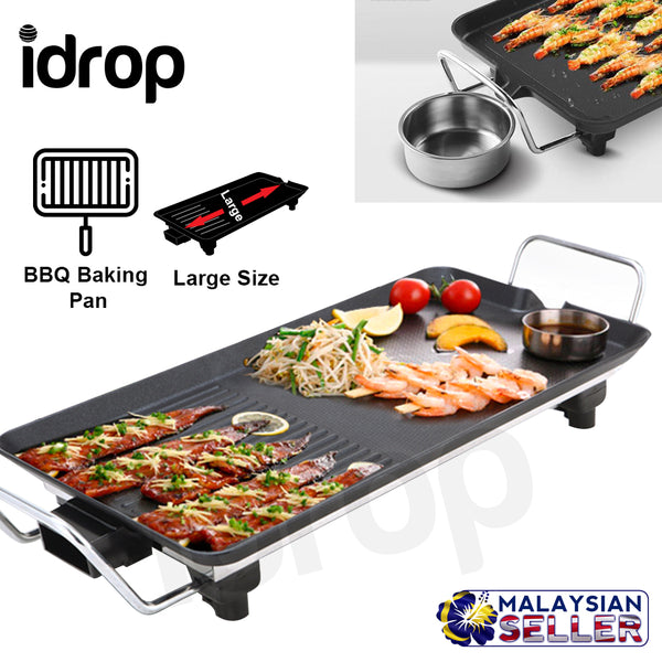 idrop Nonstick Electric BBQ Baking Pan Adjustable Temperature Settings for Indoor and Outdoor Use, Non-stick, Easy to Clean