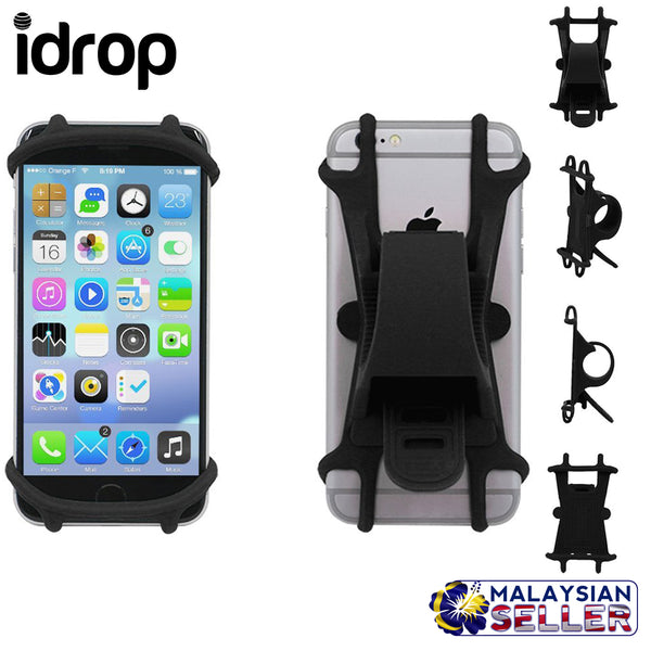 idrop Bike Cell Phone Holder Motorcycle Handlebar Cellphone Holder Bicycle Silicone Cradle Clamp for 4