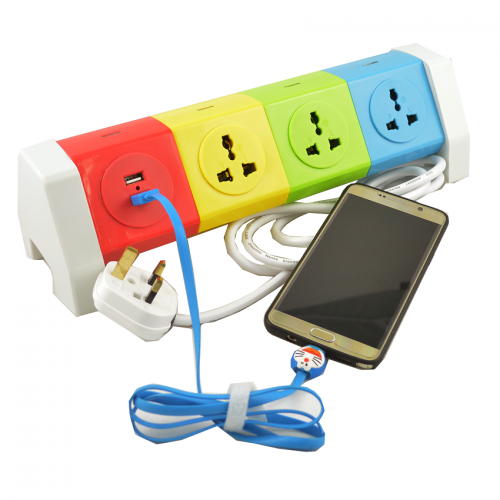 Colorful Rotating Socket Extendable Plug Socket With 2 Designs