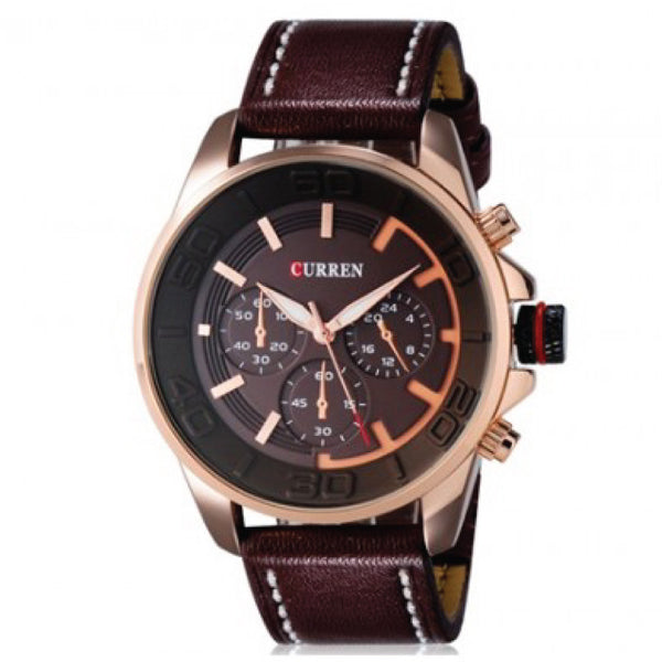 CURREN 8187 Men's Large Round Dial Analog Wrist Watch With PU Band - Brown