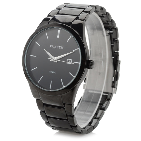 CURREN 8106 Black Stainless Steel Round Men Quartz Wrist Watch