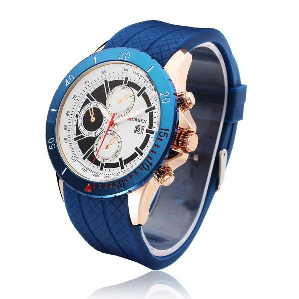 CURREN 8143 Men's Fashionable Analog Watch with Date Display & Silicone Strap