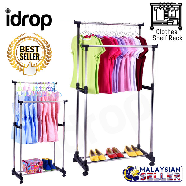 idrop Portable Double Rods Clothes Rack Rolling Height Adjustable