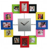 Colorful Fashion Wall Clock with 12 Photo Frames