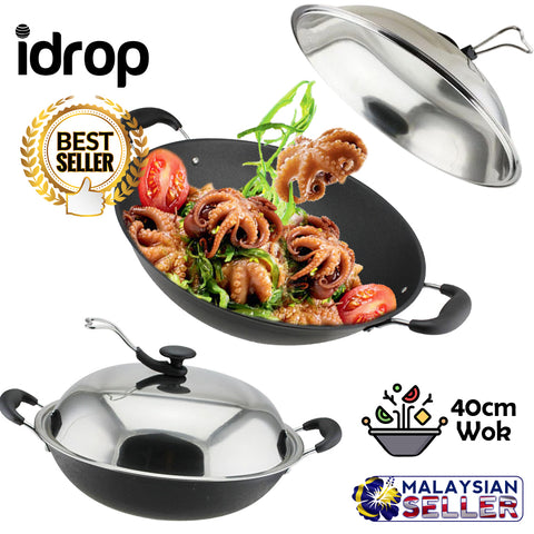 idrop 40CM Stainless Steel Cooking Wok with Lid  for Kitchen Cookware