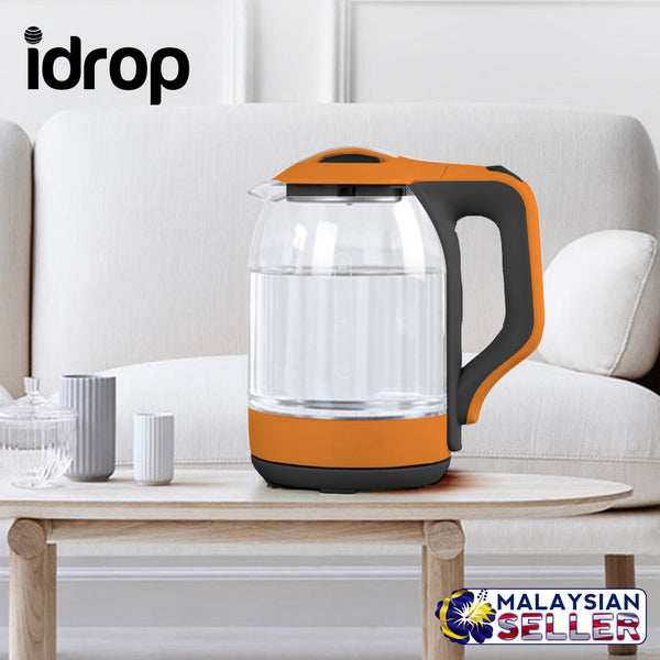 idrop Portable LED Glass Automatic Cordless Electric Kettle 1.8L
