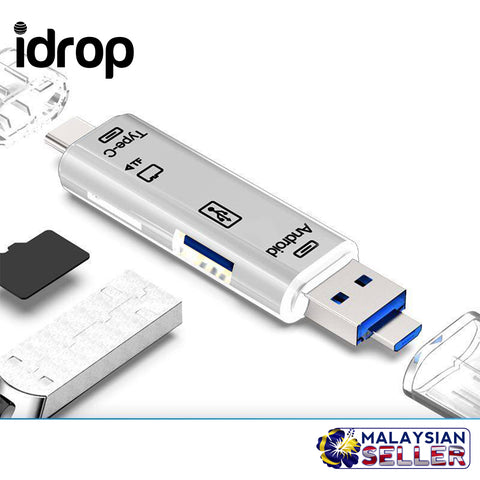 idrop 3 in 1 Type-C Card Reader Micro USB Type-C Flash Drive Adapter Connector