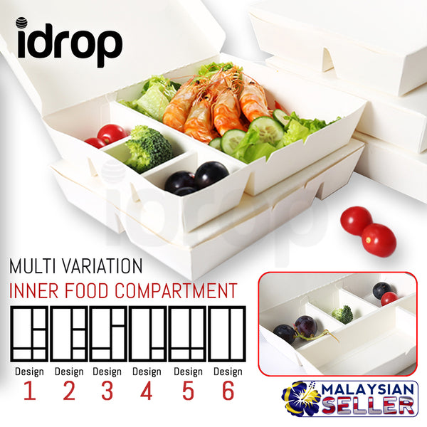 idrop Disposable Takeaway Paper Cardboard Food / Lunch Box Wholesale [ 1 / 10 / 40 / 100 pcs ]
