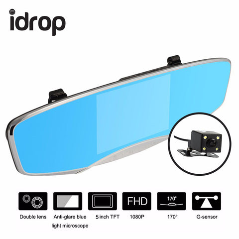 idrop D24 Car DVR HD Wide-angle Dual-lens Driving Recorder Night Vision Rear View Mirror Car Camera 5.0 Inch dash cam