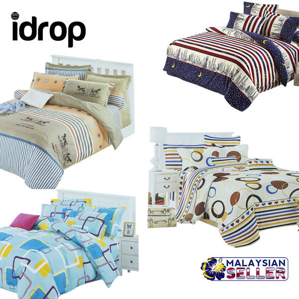 Idrop Fitted Bed Sheet QUEEN Size PREMIUM Set [1pc X Bed Cover/2pcs X