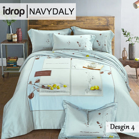 NAVYDALY Fashion design bedding king size tencel bed sheet with quilt cover