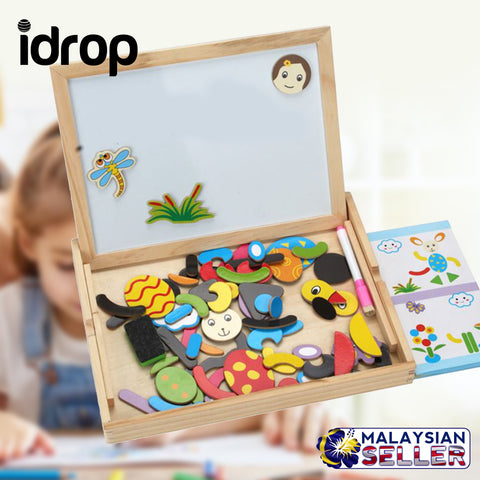 idrop DIY Double-sided Black & White Board with Magnetic Puzzle Set for Kids