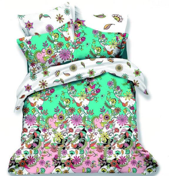 Flower Series Fitted Bedsheet Set With Quilt Cover