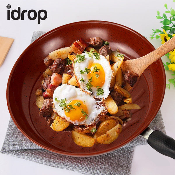 idrop High Quality Smooth Surface Extra Stainless Steel Non-Stick Frying Pan Cooking Wok Pan