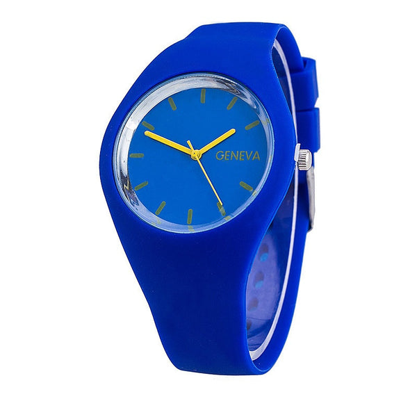 GENEVA Unisex Fashion Jelly Style Rubber Band Analog Quartz Sport Watch