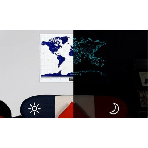 Glow-In-The-Dark Scratch World Map Wall Sticker