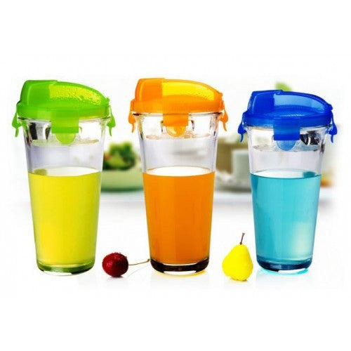 Glass Cup With Cover 3 Colors - Glassware