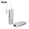 idrop USB Hub 3.0 Type-C Adapter HDMI Ethernet RJ45 Adapter 1000 MBPS SD Card Reader For Macbook Pro