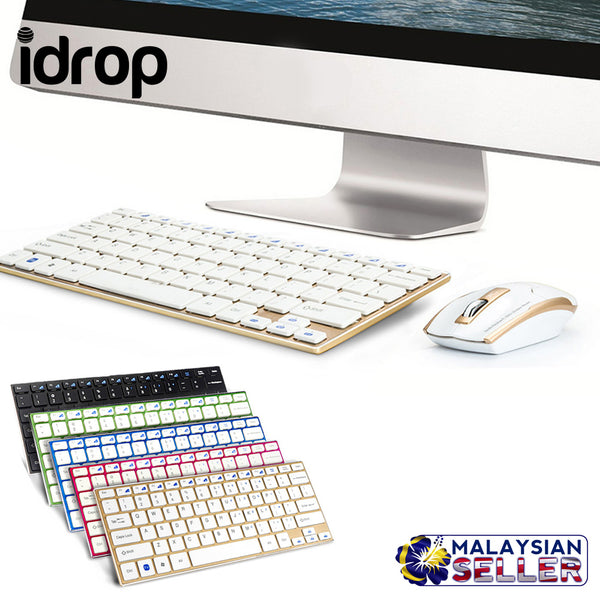idrop HK-3910 Alloy Ultra Slim Thin Design 2.4GHz Mini Wireless Keyboard Mouse Set