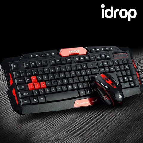 idrop HK8100 Wireless 2.4G Desktop Multimedia Gaming Keyboard + 2.4GHz 6 Buttons Mouse Set
