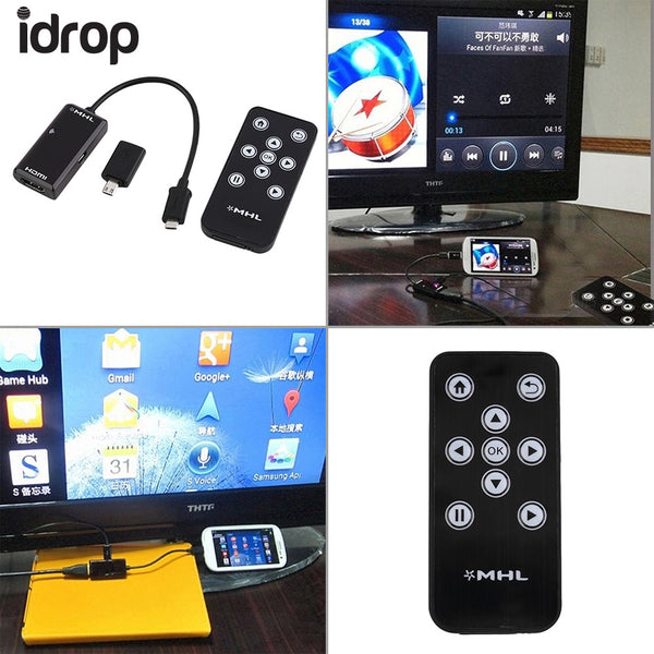 MHL Micro USB to HDMI HDTV Adapter+Remote Control For Samsung Galaxy S2 /S4 / S5 / Note 2 / Note 3 for HTC ONE, etc