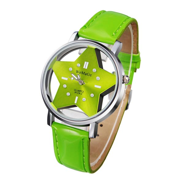 Hollow Five-Point Star Round Leather Crystal Women Watch