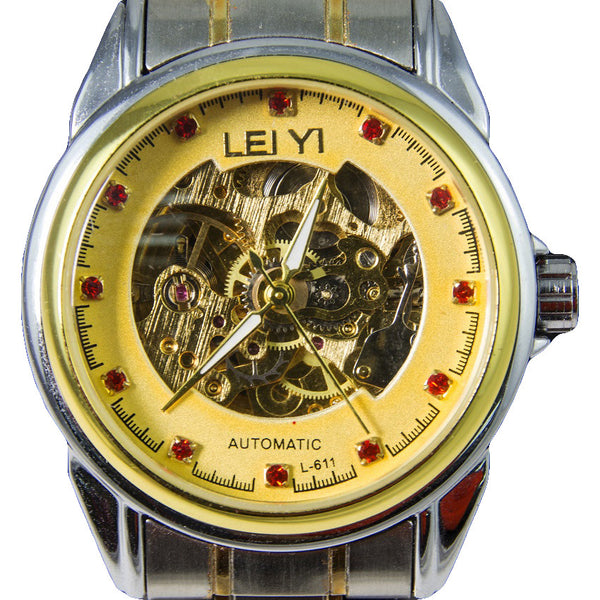 LEIYI Top Brand Watches Men Automatic Skeleton Stainless Steel Transparent Back Genuine