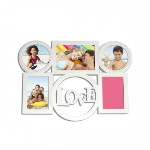 LOVE Wall Mounted With 5 Photo Frame (White)
