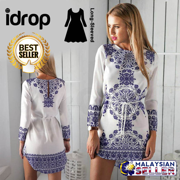 idrop Fashion Long-Sleeved Printed Tunic For Women [ S,M,L,XL ]